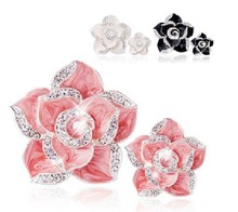 10 sets per lot Camellia Flower Cell Phone DIY Alloy Decoration Charms(China)