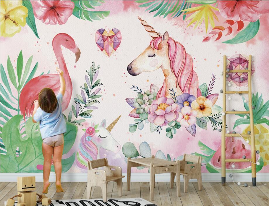 HTB1UpQdfVkoBKNjSZFEq6zrEVXae - Custom High-quality wallpaper nordic flamingo unicorn For Children Room