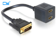 DVI Splitter to 2 HDMI Port Y Splitter Cord Extension DVI to HDMI Cable Adapter(China)