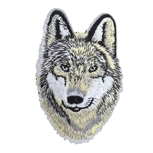 WOLF Iron On Patch Applique Wildlife Animal Husky Dog Motif Fabric Decal 3.6 x 2.4 inches (9 x 6 cm)(China)