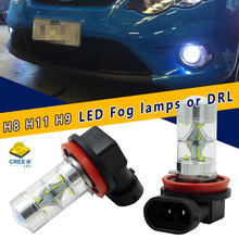 2pcs High Power 45W Super Bright 6000K Xenon White 9CREE XB-D H8 H9 H11 LED Bulbs For Fog Lights or Driving Lamps