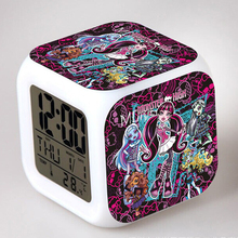Cute Monster High Cartoon Alarm Clocks Kids Toy Alarm Clocks 7 Colours Glowing LED Color Change Digital Alarm Clock(China)