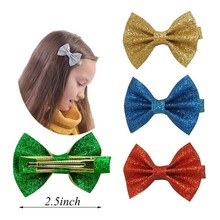"2.5 "" Girl Boutique Glitter Bow With Alligator Clips Handmade Mini Solid Hair Bows For Kids Girls Fashion Hair Accessories(China)"