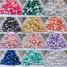 100pcs/bag Mix-Size 3/4/5/6mm Matte Resin Ball Pearl Nail Art Decoration Different Colors Mixed(China)