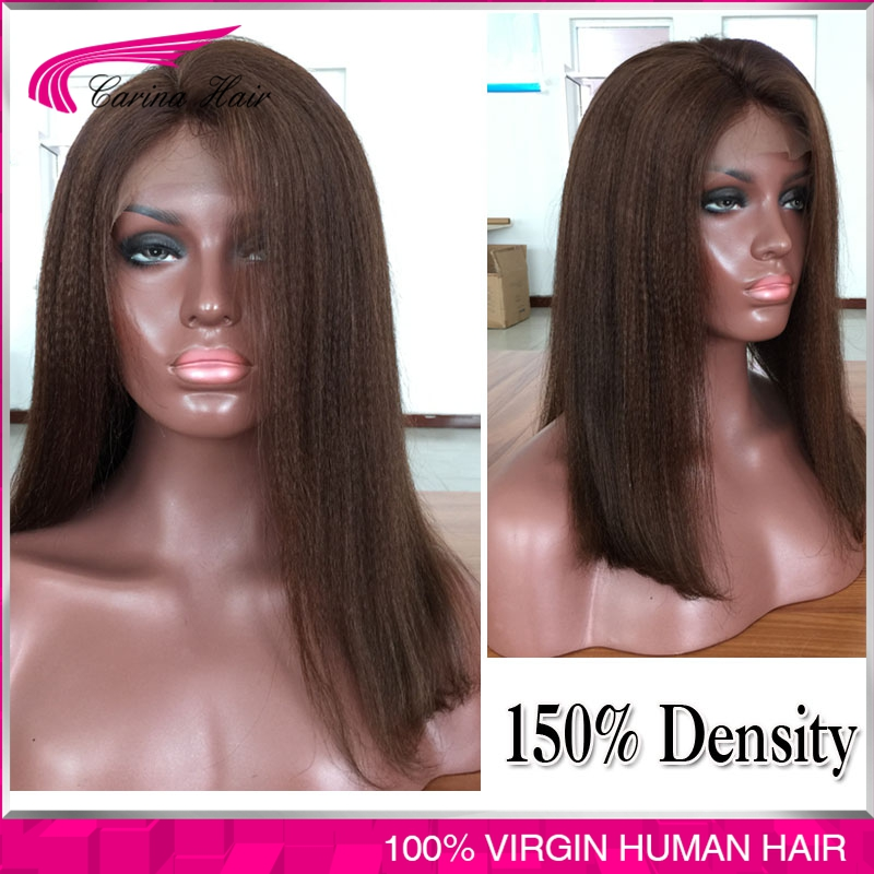 7A Grade Yaki Straight Full Lace Human Hair Wigs 150% Density Glueless Lace Front Human Hair Wigs Brazilian Virgin human hair<br><br>Aliexpress