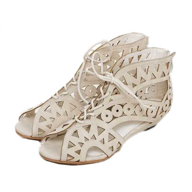 New Arrival Cut-outs Sandals Summer Fashion Stylish Women Open Toe Wedge Sandals Zipper Lace Up Ladies Shoes 2015<br><br>Aliexpress