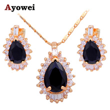 Mysterious Design High Quality Suppliers  Gold tone Black Onyx Delicate Earrings Necklace Jewelry sets JS599A