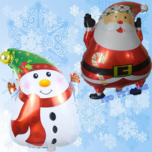 2pcs 45*63cm Santa balloon Christmas Party decoration santa claus snowman foil helium globos air inflatable ball home decoration(China)