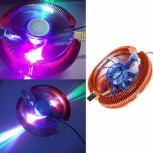 Temperature Control Colorful LED PC CPU Cooler Cooling Fan For AMD 754 Intel 775(China)