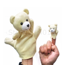 Bear Animal Soft Plush Glove Big Hand Puppet + Small Finger Puppet Kids Toy Gift(China)