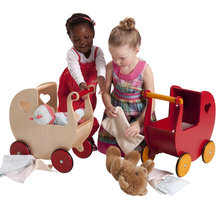 wooden toddle walker, dolls pram Safer Wooden Baby walker Natural and Red color for available