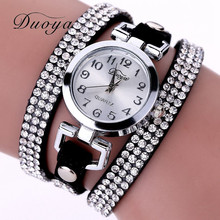 Duoya New Brand Luxury Watches Women Bracelet Watch Dress Crystal Casual Female PU Leather Quartz Wristwatches Ladies Watch