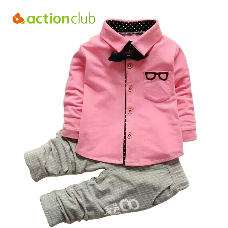 Actionclub Baby Boys Clothing Set Fashion Glasses Pattern Bow Tie T-shirts + Pants Kids Clothing Cotton Suit Long Sleeve Shirt(China (Mainland))