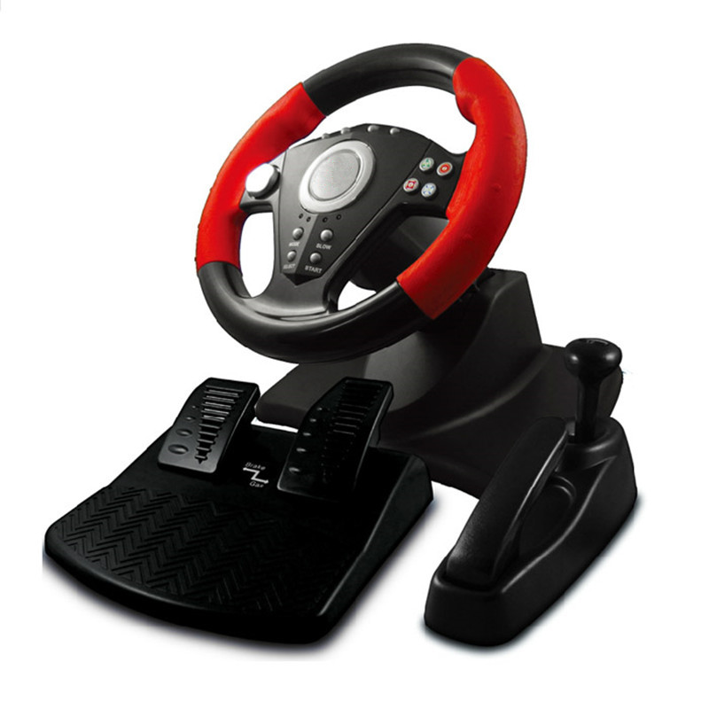 2017 new Game accessory simulation automobile race vibration pc usb computer steering wheel learning car driving 3 pieces sets(China (Mainland))