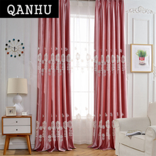 QANHU Pastoral style Blackout Jacquard Flowers Curtains bedroom Tulle Cotton Curtains Sets for Baby room Window Curtains A-25