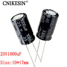 CNIKESIN 50PCS 25V1000UF new genuine high quality power supply line super electrolytic capacitor 1000UF 25V 10X17mm(China)