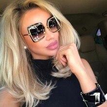 99dea85cf0f167 Femmes Grande Taille Cadre lunettes de Soleil 2018 De Mode Surdimensionné  Métal Carré Lunettes de Soleil Femme Marque Miroir Nua.