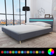 iKayaa modern design Bed artificial leather wood bed bedroom home furniture With LED Dark grey ES Stock 200 x 160 cm