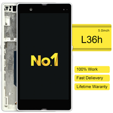 DHL 10pcs alibaba china highscreen clone For Sony Xperia Z Lt36i Lt36h C6602 L36h Lcd Screen Display With Touch Digitizer Frame(China)