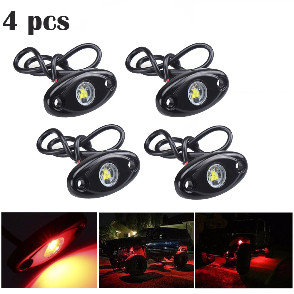 SKTYANTS 4 pcs LED Rock Light Kits For Interior Exterior Under Off Road Truck ATV SUV Jeep 4x4 Boat 4wd Motorcycle Car<br>