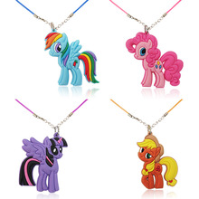 4PCS The Little Horses Hot Cartoon PVC Soft Charms +Necklaces Chains Pendant Necklaces Rope Chain Chokers Kids Gifts Party Favor(China)