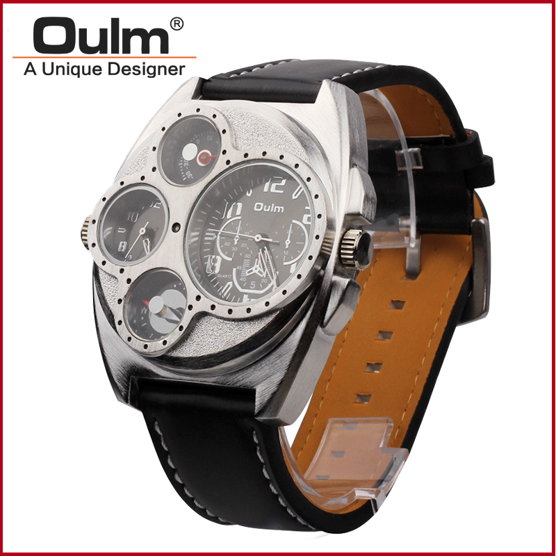 Oulm 1155 Mens Dual Time Zone PC21S japan movement quartz watch with decorated compass<br><br>Aliexpress