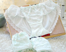 100% Real Photoes M L XL Cute Kawaii Cotton Princess Unique Lace Pearls Bow Panties Underwear Brief Thong WP228