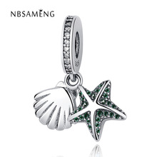 Summer Newest 925 Sterling Silver Beads Tropical Starfish & Sea Shell Pendant Charms Fit Original Pandora Bracelets Jewelry(China)
