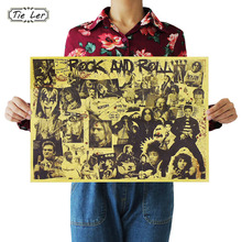 TIE LER Rock and Roll Music Posters Famous Rock Singer Personalised Room Decoration Kraft Paper Wall Sticker