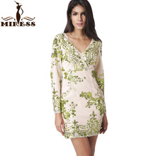 Sequin Dress Women 2017 Paillettes Bodycon Dress Party Sequined Dresses Long Sleeve Mini Dress Green Vestidos de fiesta MIRESS