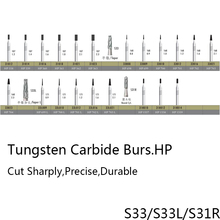 Good Quality Taper Tungsten Carbide Burs Dental Carbide Burs HP 2.35mm Burs Tooth Drills for Jewelry dental materials S33 S33L(China)