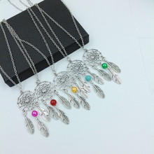 10pcs Silver and colorful bead boho with three  feather dreamcatcher Native American dream catcher hairstick  necklace
