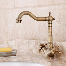 Vintage Kitchen Bathroom table basin Dual Cross Handles Antique hot and cold taps copper brass basin Mixer Tap(China)
