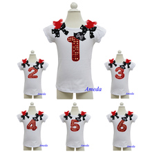 Girls Pirate Hat Bling Red Number 1 2 3 4 5 6 Birthday White Short Sleeves Top Pettitop 1-10 Years