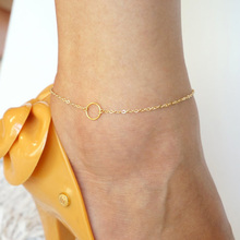 Simple Silver&Gold Color Circle Anklet Women Girl Summer Fashion Foot Jewelry Beach Accessories