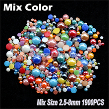 Mix color&size 2.5-8mm Ceramic Beads Half Round Pearl 1900Pcs DIY Craft Flatback Pearls Stones and Crystals Jewelry Accessories
