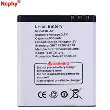 2017 Nephy Original Battery BL-5F For Nokia N93i N95 N96 N98 N99 6290 E65 6210N 6210S 6710N C5-01 950mAh Retail Package In Stock