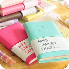 7 Colours Mini Smiley Diary Notebook Memo Book Leather Note Pads Stationery Pocketbook 100 Pages(China)