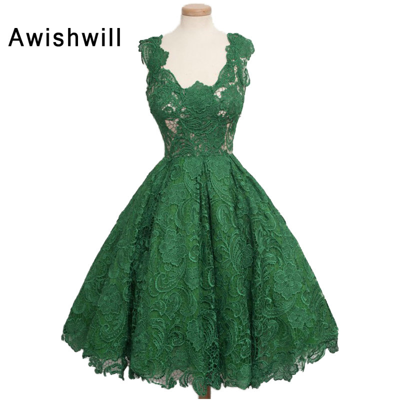Real Image A-line V-neck Emerald green Lace Overlay Short Mini Dress Cocktail Party Dress 2019
