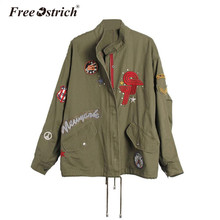 Free Ostrich 2017 Autumn Winter Bomber Jacket Women Army Green Motorcycle Military Style Feminina Embroidery Coat Oct1930(China)