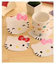 1Pcs New Hello kitty Anti Slip Kawaii Cup Mat Dish Bowl Placemat Coaster Base Kitchen Accessories Home Decoration F0515(China)