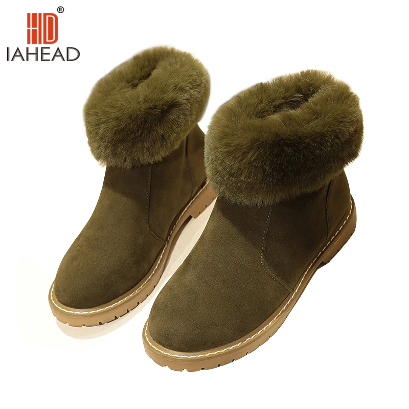 IAHEAD Brand Snow Boots Shoes Women winter Fur Flat Casual Boots Fashion Shoes Warm Shoes Slip On Plush Shoes UPC259<br>