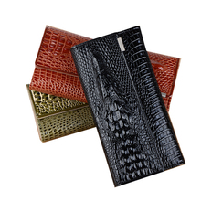 Fashion Alligator Women Leather Wallet Long Trifold Designer Purse Women 3D Animal Printed Female Card Holder Lady(China)