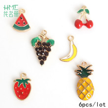 Hot Sale 6pcs/bag Enamel Metal Alloy Fruit Charm Pendant,for DIY Earring Bracelet Necklace Jewelry Findings Craft Making