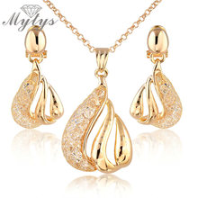 Mytys Fashion Mesh Jewellery Sets Dangle Wire Mesh Earrings and Pendant Wire Mesh Necklace Sets CN33(China)