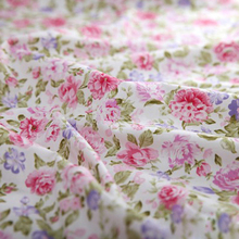 "1 meter Pink Roses 100% Cotton Fabric for bedding set clothing sewing quilting Cloth patchwork 160cm/ 63"" wide(China)"