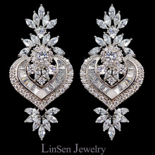 New design luxury Cubic Zirconia pendientes vintage earrings,fashion micro paved AAA CZ jewelry earrings for wedding/gift/party(China)