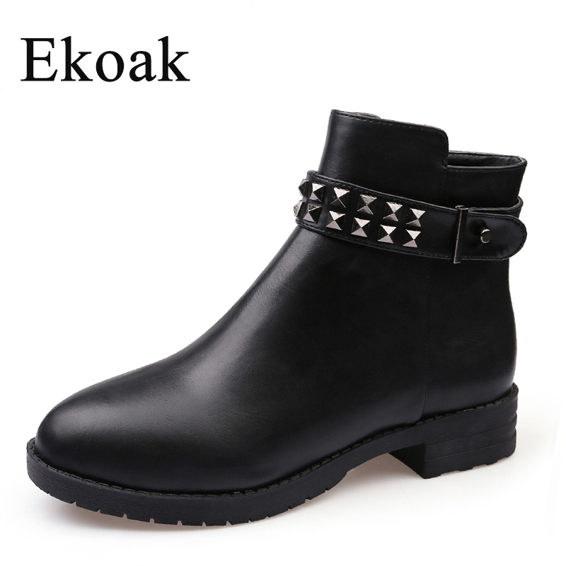 Ekoak Size 35-43 New 2017 Fashion Women Boots Autumn Winter Boots Classic Zip Rivets Ankle Boots Warm Plush Women Shoes<br>