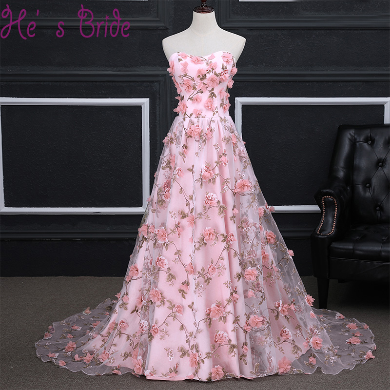 Cheap Long Evening Dress Luxury Bride Pink Sweep Train Banquet Lace Appliqued Flowers Party Prom Dresses Robe De Soiree Custom(China)