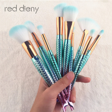 Buy 10 PCS Mermaid Makeup Brushes Set Fantasy Eyebrow Eyeliner Blush Blending Contour Foundation Cosmetic Beauty Make Fish Brush for $6.29 in AliExpress store